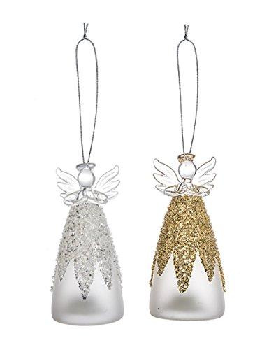 Ganz Light Up Elegant Christmas Light Up Glitter Angel Ornaments Set of 2 ()