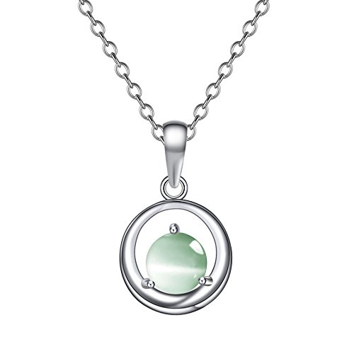 Plated Cat Pendant - OnairMall 925 Silver Necklace Platinum Plated Cat Eye Gemstone Pendant Necklace Best Gift