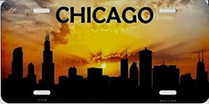 Chicago Skyline Silhouette Metal License Plate