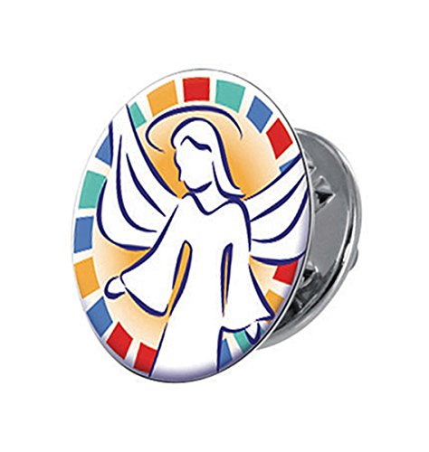 Greeter Pin (Silver Tone and Epoxy Angel on My Shoulder Lapel Pin with Clutch Back, 5/8 Inch)