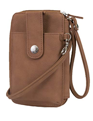 Combo Note Holder - Mundi Jacqui Vegan Leather RFID Womens Crossbody Cell Phone Purse Holder Wallet (Brown Sugar)