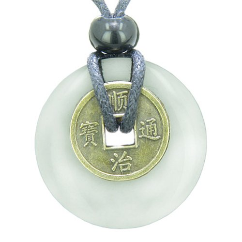 Lucky Coin Evil Eye Protection Powers Amulet White Snowflake Quartz 30mm Donut Pendant Necklace