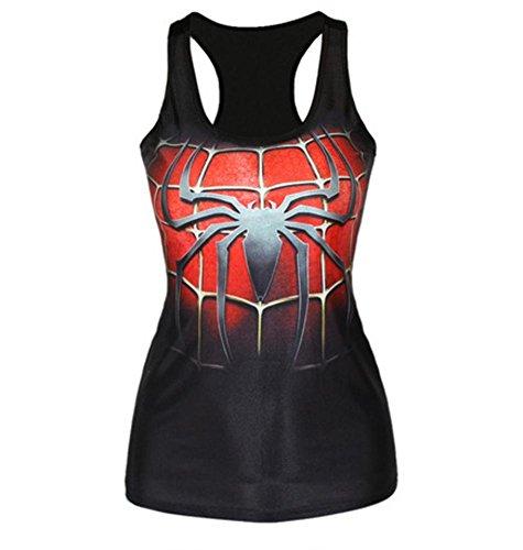 Ensasa Women's Fashion Spiderman Logo Camisole Halter Top Sleeveless T-shirt (Medium) (T Shirt Spiderman)