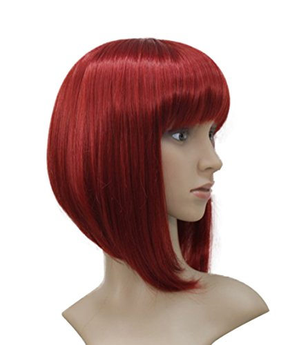Lydell Short Bob Wigs No Part Full Synthetic Hair Wig Red Wigs (#137) 10 inch