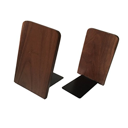 1Pair Simple Style Black Walnut Wood Bookends Bookend For Library School Study Home Office Gift (Antique Tree Lamp Base)
