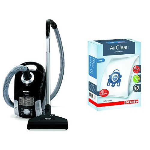 Miele Compact C1 Turbo Team Canister Vacuum,Obsidian Black & Miele 10123210 AirClean 3D Efficiency Dust Bag, Type GN, 4 Bags & 2 Filters