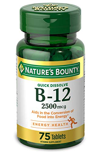 Nature's Bounty Vitamin B-12 Supplement, Supports Metabolism and Nervous System Health, 2500mcg, 75 Tablets