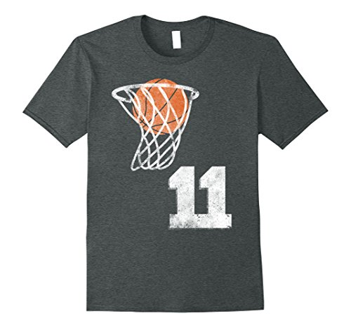 Mens Vintage Basketball Jersey Number 11 T-Shirt Player Number Small Dark Heather (Dark Numbers)
