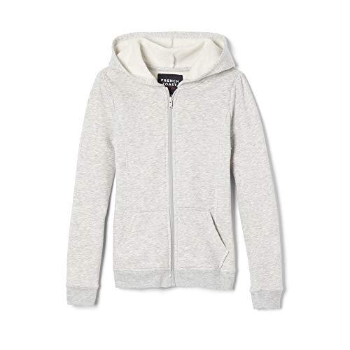 French Toast Girls' Big Fleece Hoodie, Heather Gray, L (10/12) - Girls Hooded Zip Front Jacket