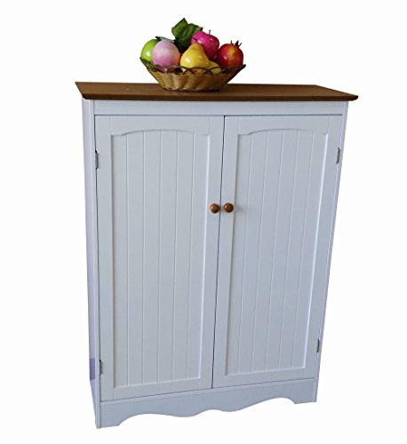 - Homecharm-Intl 30.3x11.8x39.8-Inch Storage Cabinet,White&Veneer Top (HC-012)