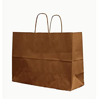 Amazon.com: 250 Vogue / Fashion Natural Kraft Shopping Bag with ...