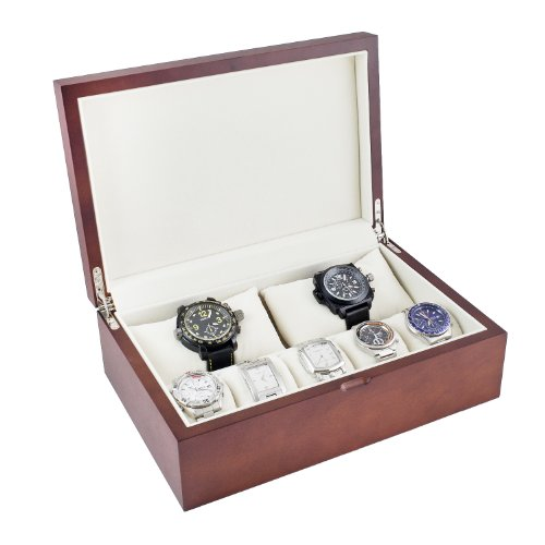 Caddy Bay Collection Vintage Wood Watch Case Display Storage Box with Solid Top, Holds 10 Plus Watches