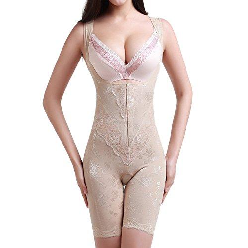 Shymay Women's Open-bust Mid-thigh Bodysuit Wear Your Own Bra Singlet Shapewear, Nude, Medium