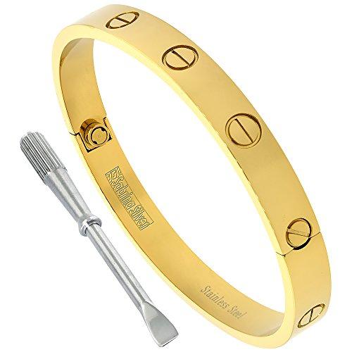 Sabrina Silver Gold Color Stainless Steel Screw Head Bangle Bracelet for Men Oval 7mm Wide, fits 8 inch - Bracelet Bangle 7 Mm