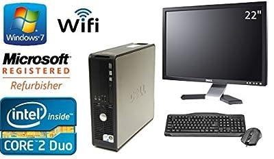 """Dell Optiplex 780 SFF Windows 7 Professional 64 Bit 3.0 Core 2 Duo 8GB DDR3 500 GB DVD-RW + Dell 22"""" LCD + WiFi"""