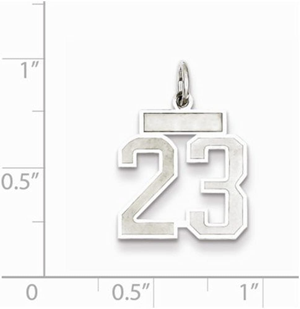 Jewel Tie 925 Sterling Silver Small Satin Number 23 14mm x 19mm