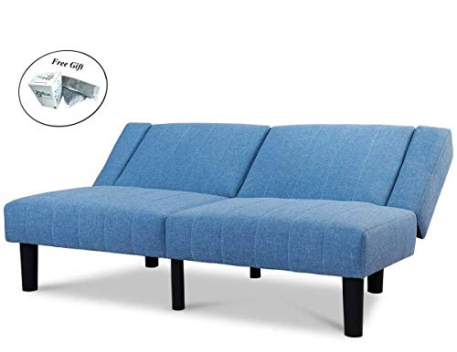 (Futon Sofa Bed Convertible Linen Upholstered Lounge Couch Cup Holder - Blue Only by eight24hours)