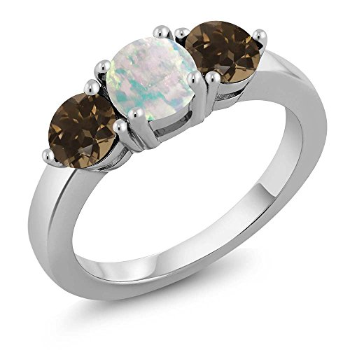 1.57 Ct Round Cabochon White Simulated Opal Brown Smoky Quartz 925 Sterling Silver Ring