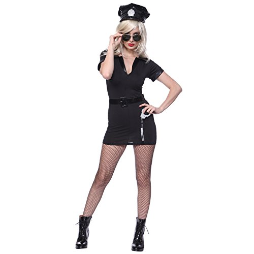 [Women's Dirty Cop Officer Fancy Dress Costume M us 6 8] (Dirty Santa Costumes)