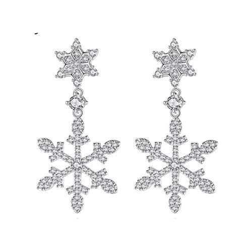 Mondora Wedding Dangle Earrings Winter Snowflake Flower Women's Cubic Zirconia Pierced Silver-Tone Clear