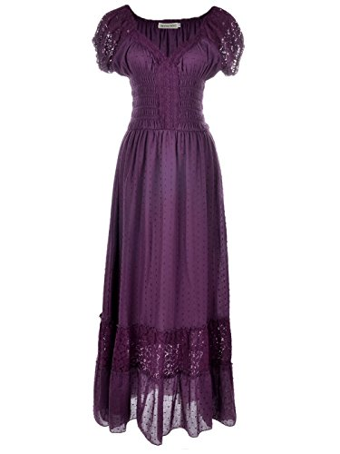 Anna-Kaci Peasant Maiden Boho Inspired Cap Sleeve Lace Trim Maxi Dress, Purple, X-Large