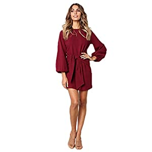 Longwu Women's Loose Casual Front Tie Long Sleeve Bandage Party Dress