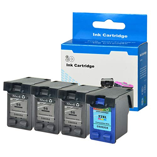 - SuperInk 4 Pack Remanufactured Ink Cartridge Replacement for HP C6656AN C9352CE 56 22 22XL (3 Black,1 Tri-Color) Compatible HP Officejet 5605 5607 5608 5609 5610 5615 5679 5680 All-in-One Printer