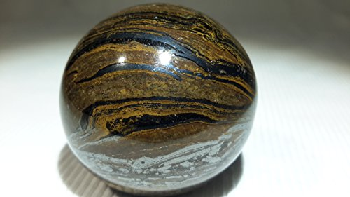 StarStuff.Rocks Authentic Semi Precious Stone Polished Sphere Collection (Tiger Iron)
