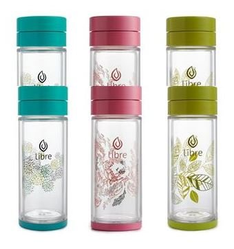 Libre MIXED Gift Pak: 2pcs Pink, 2 pcs Teal, 2 pcs Green, Infuser Bottle with a Durable Glass Interior - 14.3 oz.