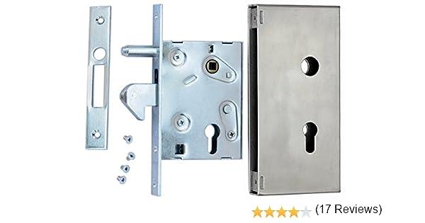 Cerrojo de gancho con caja de cerradura F-60 para puerta corredera con mandril: Amazon.es: Bricolaje y herramientas