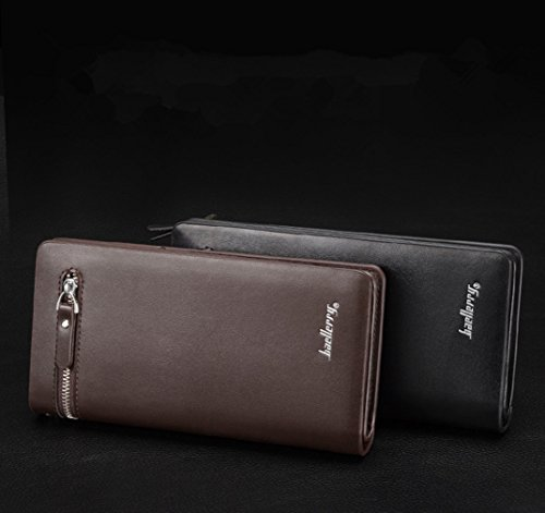 Ruiying Herren Männer mappe aus echtem Leder Kupplung Kartenhalter Mappen Geldbörse Brieftasche Multi-Funktions Große Kapazität Tasche (Kaffee)
