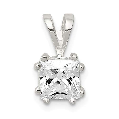 925 Sterling Silver Princess Cubic Zirconia Cz Pendant Charm Necklace Fine Jewelry Gifts For Women For Her ()