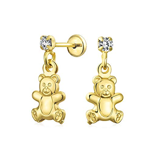 Teddy Bear Stuffed Animal Lover Cubic Zirconia Dangle Earrings For Teen CZ Stud 18K Gold Plated Brass