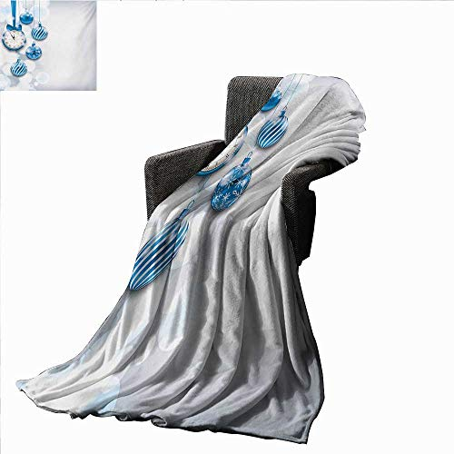 (Clock Weave Pattern Extra Long Blanket New Year Theme with A Clock and Glass Balls Illustration Christmas Xmas Celebration Pattern,Super soft and comfortable,suitable for sofas,chairs,beds)