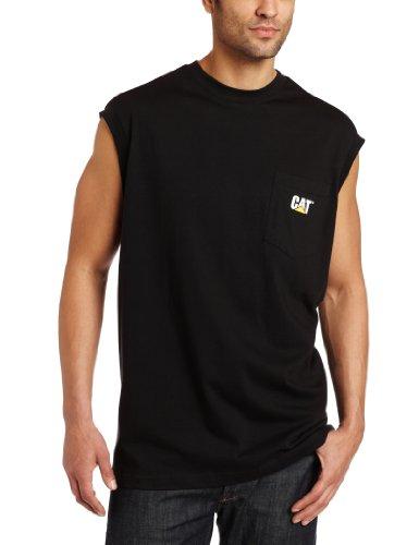 Sleeveless T-shirt Ringspun (Caterpillar Cat trademark sleeveless pocket tee, Black, Medium)
