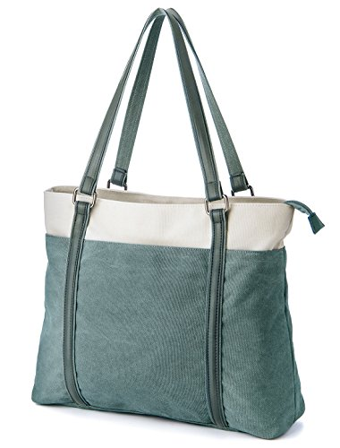 (GRM Laptop Bag for Women, 15.6 Inch Tote Bag, Womens Lightweight Canvas Tote Bag Casual Shoulder Bag with Multi-Pocket (Green))