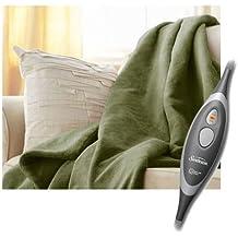 Sunbeam Microplush Throw Electric Heated Warming Blanket, Ivy Green