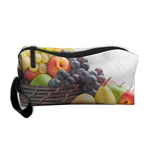 Delicious Apple Grape Fruit Pattern Makeup Bag Calico Girl Women Travel Portable Cosmetic Bag Sewing Kit Stationery Bags Fashion Storage Pouch Bag Multi-function Bag