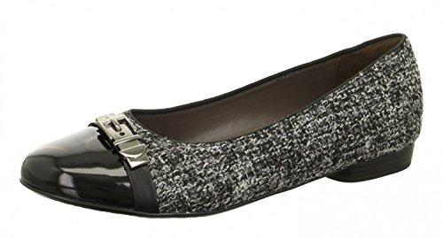 Jenny Ladies Ballerina 22-63374-12 black / gray schwarz/grau eXI7k5ITs3