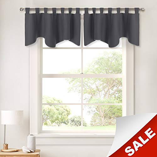 Grey Scalloped Valances - Window Curtains Home Decoration Window Treatments Top Tab Panel Valances Blackout Tier Drapery for Kitchen, 52 inch Wide by 18 inch Long, Grey, 2 Pieces