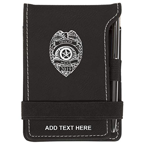 Personalized Police Dept Badge Mini Notepad Holder Set for Business Professionals - Small Flip Jotter Notebook Case - Includes Mini Note Pad and Pen to Jot Notes, Black & Silver ()