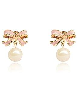 1par Pendientes Mujer Aretes Elegante Pendientes Borla Colgante Pendientes Accesorios de Joyería Mujeres,Nudo mariposa rosa
