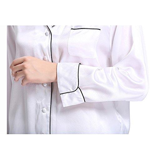 Conjunto De Pijama Seda Corto Elegante Con Guarnición 22 Momme Varios Colores Y Tallas Disponibles Blanco