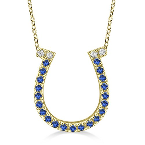 (Sapphire and Diamond Horseshoe Pendant Necklace 14k Yellow Gold (0.25ct))