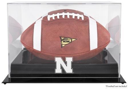 Nebraska Cornhuskers Team Logo Football Display Case Details: Black Base