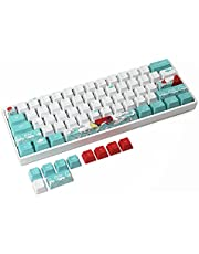 (Only Keycaps) Korean Coral Sea 60% PBT Keycaps Set OEM Profile for MX Switches Mechanical Gaming Keyboard GK61 64