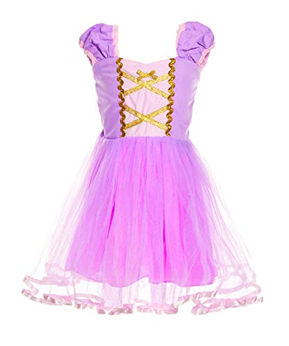 LENSEN Tech Kids Princess Mermaid Rapunzel Dress Fancy Party Snow White Costume (Rapunzel, 3-4 Years) -