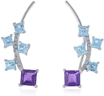 925 Sterling Silver Square Blue Topaz & Amethyst Women's Ear Crawler Climber Earrings