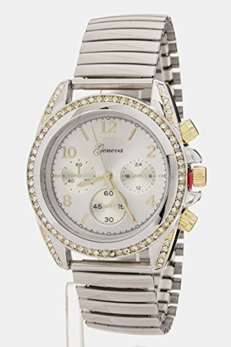 Wholesale Boutique Jewelry Costume (Trendy Fashion Jewelry Metallic Stretch Watch By Fashion Destination | (Rhodium/Gold))