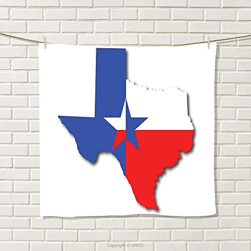smallbeefly Texas Star Hand Towel Outline of The Texas Map American Southwest Austin Houston City Quick-Dry Towels Vermilion White Violet Blue Size: W 20'' x L 33'' by smallbeefly